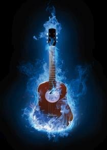 obraz Kytara v plamenech