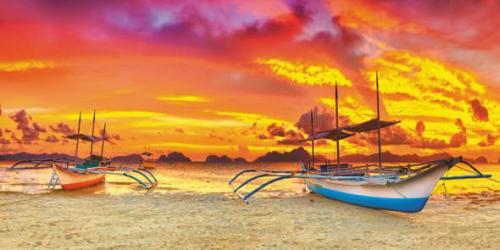 obraz Lodě na pláži