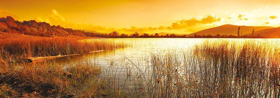 obraz Západ slunce nad jezerem