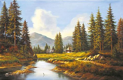 obraz Smreky nad riekou