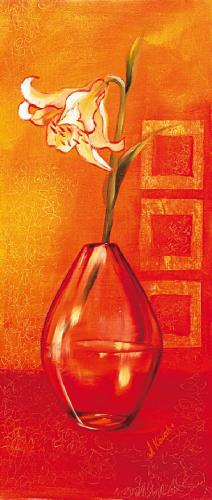 obraz Květina ve váze - oranžové pozadí