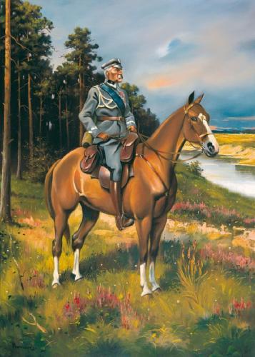 obraz Piłsudski na hnedé kobyle