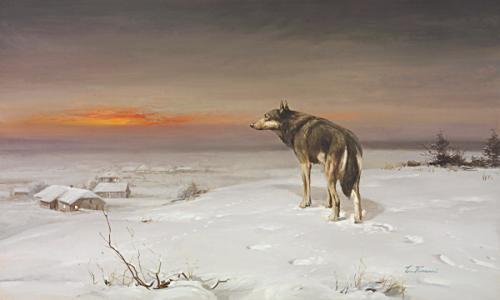 obraz Zimný večer. Vlk