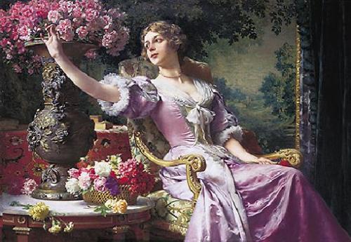 obraz Dáma v ľaliový sukni