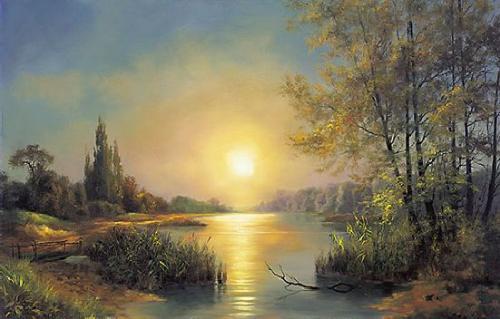 obraz Jazero, západ slnka