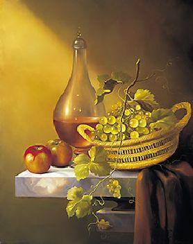 obraz Zátiší - jablka, víno