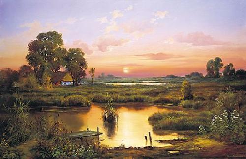 obraz Močiare, západ slnka