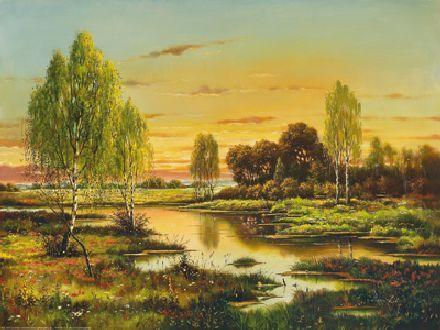 obraz Břízy za východu slunce