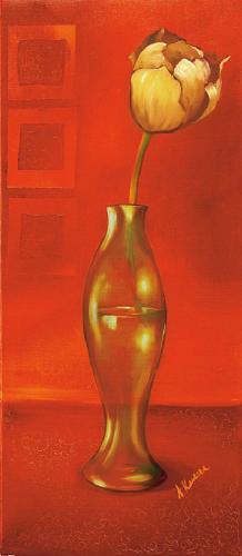obraz Kvetina vo váze - červené pozadie - červené pozadí