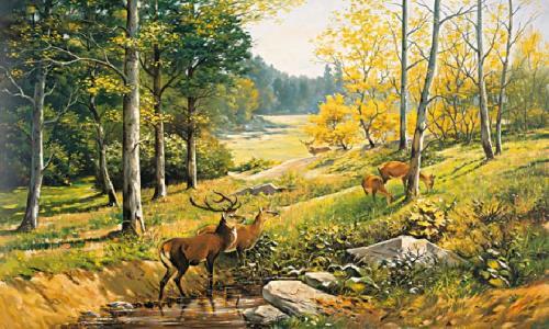 obraz Krajina s jeleňom