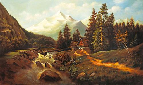 obraz Potok v doline