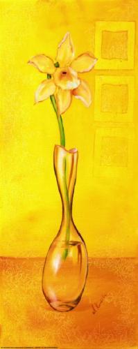 obraz Kvetina vo váze - žlté pozadie - žluté pozadí