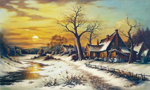 obraz Zima, západ slunce