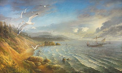 obraz Výprava vikingů. Drakar