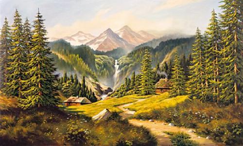 obraz Krajina s vodopádom