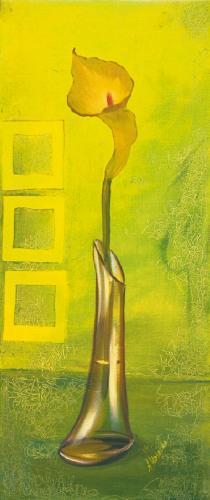 obraz Kvetina vo váze - zelené pozadie - zelené pozadí
