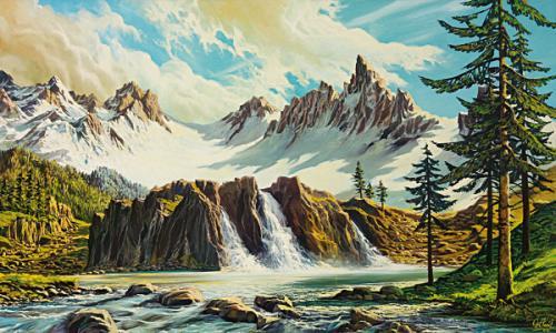 obraz Tri vodopády