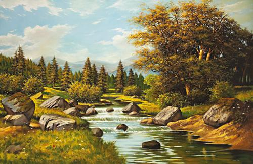 obraz Ráno nad lesní řekou