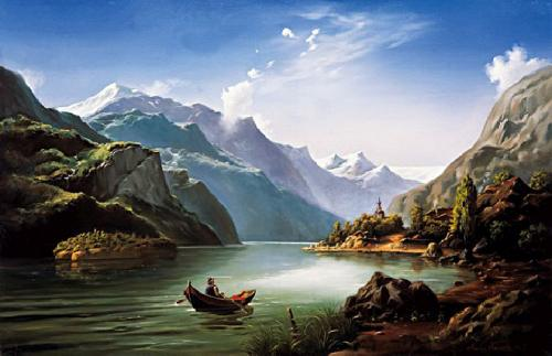 obraz Horská krajina s lodí
