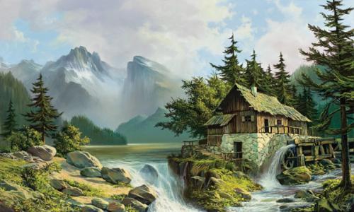 obraz Mlýn nad jezerem