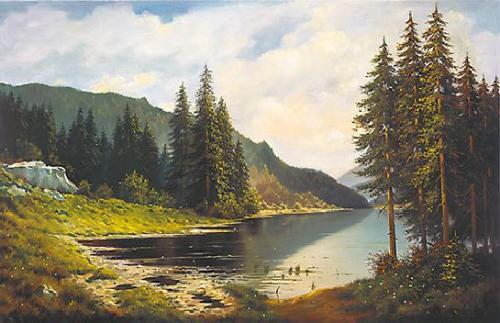 obraz Smrky nad jezerem