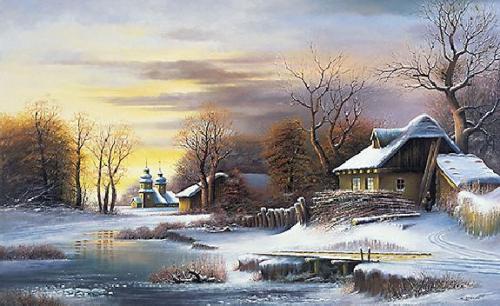 obraz Zima na dedine