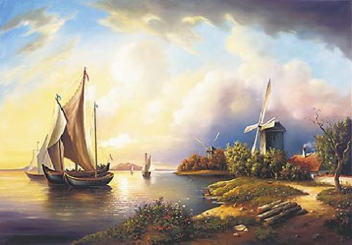 obraz Mořský břeh s mlýnem