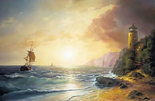 obraz Morský breh s majákom