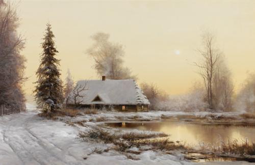 obraz Stará chata v zimě