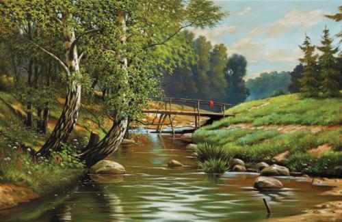 obraz Mostek, břízy