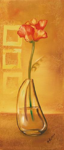 obraz Kvetina vo váze hnedej pozadia