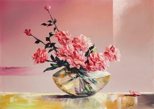 obraz Růže ve váze