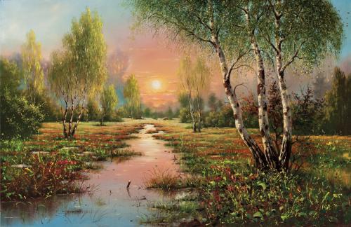 obraz Břízy, západ slunce