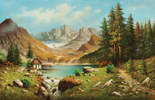 obraz Dům nad jezerem