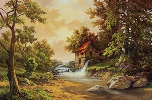 obraz Mlýn nad řekou