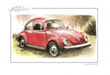 obrazy, reprodukce, Červený Volkswagen Brouk