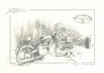 obrazy, reprodukce, Historická motorka Jawa