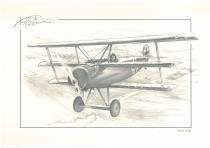 obrazy, reprodukce, Historický letoun v oblacích
