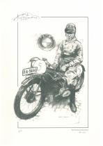 obrazy, reprodukce, Hans Soenius na motorce BMW