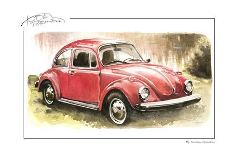 obraz Červený Volkswagen Brouk